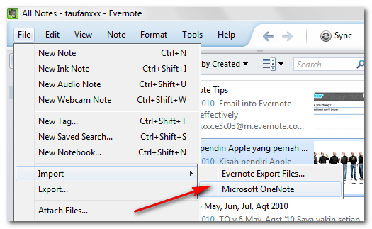 Import OneNote to Evernote