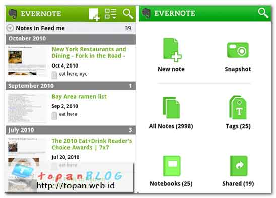 Screenshot Evernote for Android